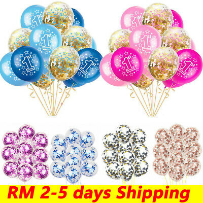 10PCS First 1st Birthday Number 1 Boy Girl Confetti Balloons Baby Party Decor UK
