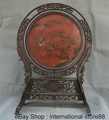 "23"" Old China Huanghuali Wood Lacquerware Palace Word Flower Bird Parrot Screen"