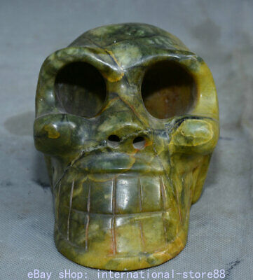 "6"" Old Chinese Neolithic Hongshan culture Old Jade Skeleton Skull Head Statue"