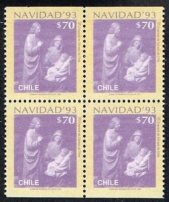 CHILE 1993 STAMP # 1650a MNH BLOCK OF FOUR CHRISTMAS
