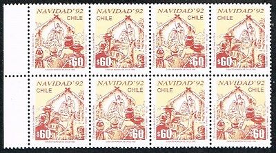 Chile 1992 Stamp # 1596/7 Ds-20 Mnh Block Of Four Christmas