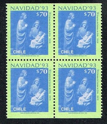 CHILE 1993 STAMP # 1651a DS-20 MNH BLOCK OF FOUR CHRISTMAS