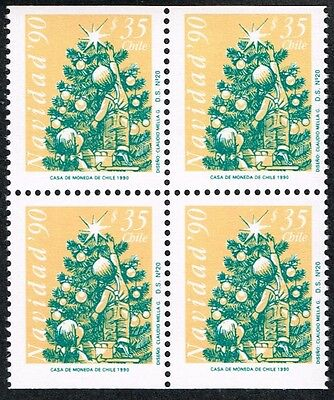 CHILE 1990 STAMP # 1486a DS-20 MNH BLOCK OF FOUR CHRISTMAS