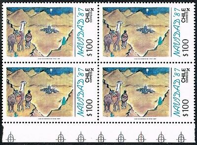Chile 1987 Stamp # 1270 Mnh Block Of Four Christmas Painting Child Corner Sheet