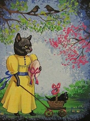 Aceo Print Of Painting Ryta Black Cat Easter Egg Kitten Whimsical Folk Spring