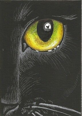 Aceo Print Of Painting Ryta Black Cat Witch Magic Art Eyes Wiccan Halloween Eye