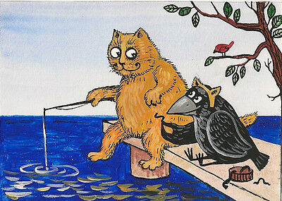 Aceo Print Of Painting Ryta Crow Red Tabby Cat Folk Art Illustration Spring Lake