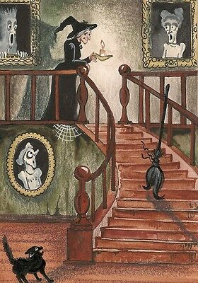 Aceo Print Of Painting Ryta Halloween Witch Black Cat Portrait Haunted House Art