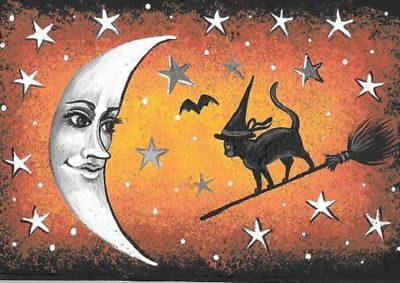 Aceo Print Of Painting Halloween Witch Black Cat Vintage Style Folk Art Moon Bat