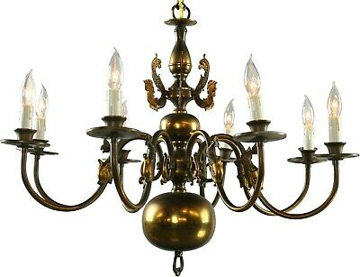 Large Vintage Flemish Ball Chandelier  Mermaids  8 Arms  Shiny Brass Fini