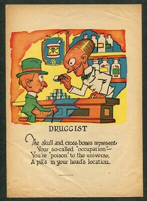 c1920 Antique Vinegar Valentine Druggist Pharmacist Pharmacy