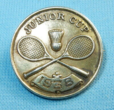 Vintage Badminton Junior Cup Sterling Silver Pin Badge - Dublin 1938 West & Son