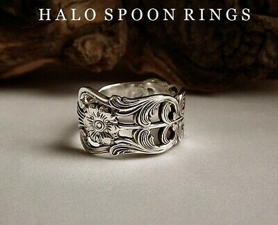 Very Pretty And Unique Ladies Swedish Silver Spoon Ring 1958 With Floral Detail