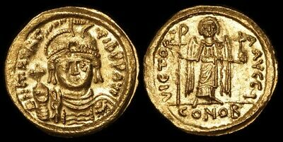 ANCIENT BYZANTINE : Maurice Tiberius 582-602AD Gold Solidus Constantinople Mint