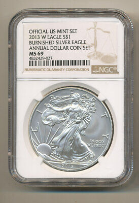 NGC MS69 2013 W ANNUAL Uncirculated Dollar coin Set burnished Silver Eagle