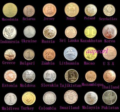 Lots 30 Countries World Coins Collections Uncirculated 100% Real Coin Money