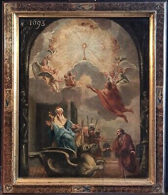 FRENCH 17th CENTURY OLD MASTER OIL PAINTING - ALLEGORY OF THE EUCHARIST c.1693