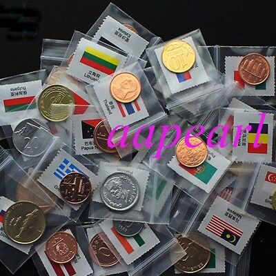 Lots 20 countries World Coins money with flags 100% Real Coins money Uncirculate