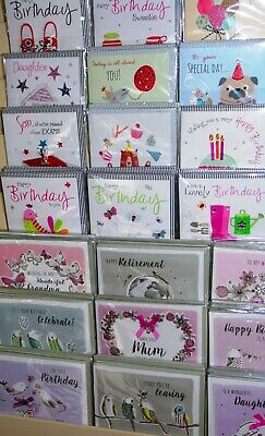 AMAZING QUALITY! 45p! LUXURY HANDMADE CARDS X 150, 25 DESIGNS X 6,  GREAT MIX