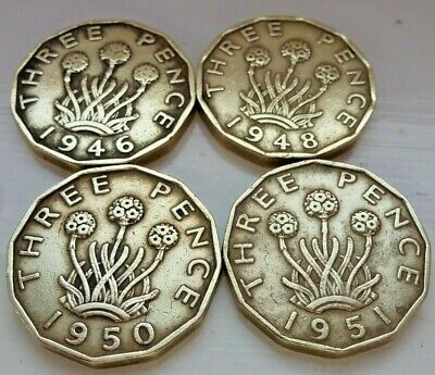 Various Birth Year Threepence 1937/1952 Your Choice Of Year George Vi Free Post
