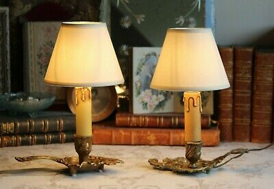 Two Petite Vintage French Bronze Brass Chamberstick Bedside Table Lamps & Shades