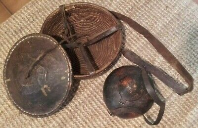 Antique African Handwoven Leather Basket Container Box & Gourd Box bag ~ Tribal