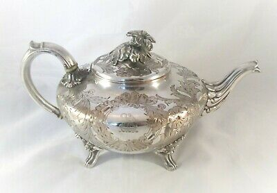 An Old Sheffield Plate Tea Pot c1830 - Ornate Finial - Crested