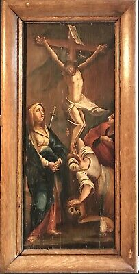 Large 1600's Flemish Old Master Oil On Wood Panel - Christ On The Cross & Mary