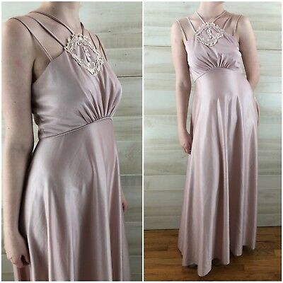 Vintage 70s Pink Strappy Draped Hippie Boho Long Maxi Dress Empire Appliqué XS S