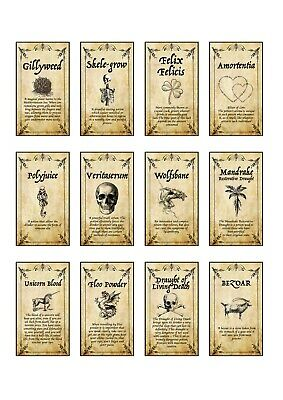 12 x Harry potter inspired potion labels