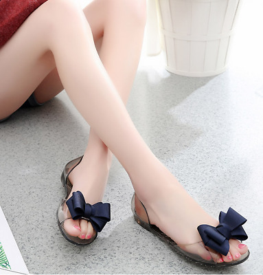 ffff34258bee Women Cute Bow Jelly Transparency Flat Sandals Beach Clear Shoes Summer  Slippers