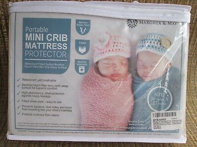 Margaux & May Portable Mini Crib Mattress Protector Bamboo White Pack N Play