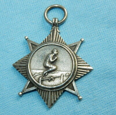 Fine Antique Sterling Silver Sports Star High Jump Medal Fob - 9.4 G - Stunning