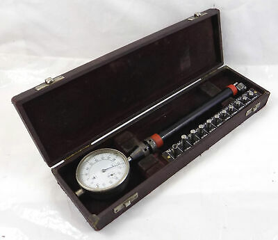 VINTAGE BATY BORE DIAL GAUGE - FITTED WOOD CASE - 22mm TO 38mm, 14mm ADAPTOR