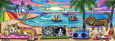 Raccoon Kitten Mouse Ocean Beach Party Boat Music Fun Double ACEO Painting Print