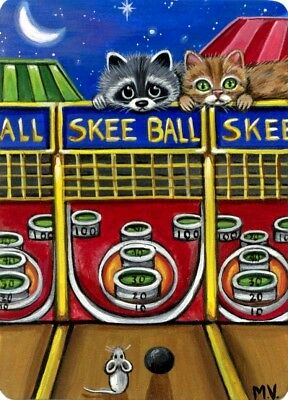 Raccoon Cat Mouse Skee Ball Arcade Game Moon Carnival  ACEO Print from Original