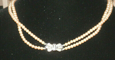 Vintage Double Row Faux Pearl Beads 1950's  Butterfly Look Slip In Clasp