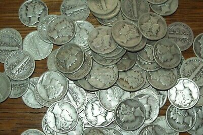 Roll of 50 Mercury Dimes $5 Face Value Silver Dimes 90% Silver