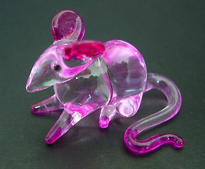 Little Glass MOUSE RAT Glass Ornament Pink Painted Glassware Curio Animal Glass