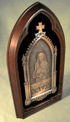 Antique Framed Engraved Copper Plaque Of The Holy Communion - Signed.