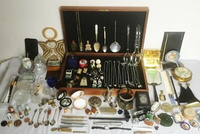 Antique Vtg Curio Joblot Jewellery Silver 925 Marks Gold Diamond Necklaces+100