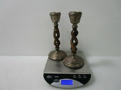 Antique Hammered Sterling Silver and Barley Twist Wood Candlesticks 299.4g