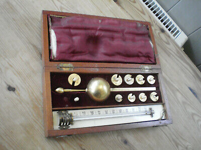 Antique Sikes Hydrometer Set In Original Wooden Case By E. Davis Leeds