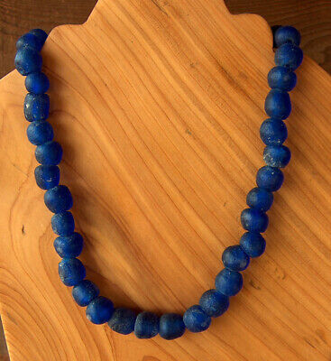 ESTATE Vintage Antique 37 COBALT BLUE GLASS TRADE BEADS African Islamic NECKLACE