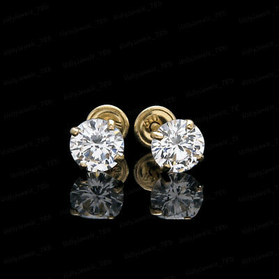 1ct Round-Cut Diamond Earrings 14K Yellow Gold Over Solitaire Screw back Studs