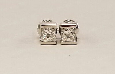 1.00Carat Princess Cut Diamond 14k White Gold Over Stud Earrings Sterling Silver