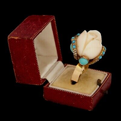 Antique Vintage Deco 14k Gold Carved Angelskin Coral Turquoise HUGE Ring Sz 7.75