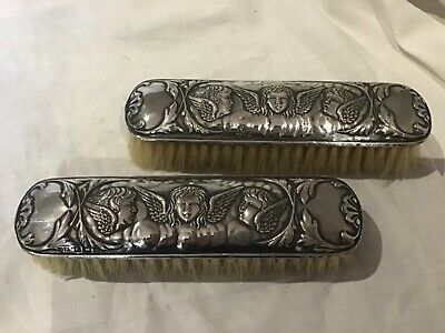 Pr Clothes Brushes Sterling Silver Birmingham 1913