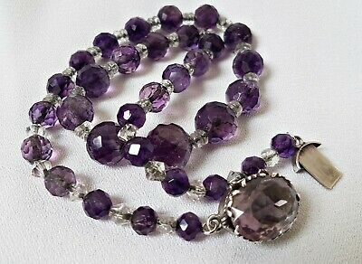 Antique Victorian Faceted Cut Real Amethyst Beads Necklace Silver Chain & Clasp