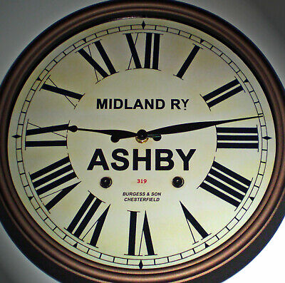 Midland Railway, MR Victorian Style Wall Clock, Ashby-de-la-Zouch Station.
